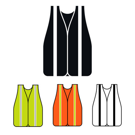 life jackets: Safety Vest Icon, Multicolored Set, Vector Illustration Illustration