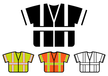 camisole: Safety Vest Icon, Multicolored Set, Vector Illustration Illustration