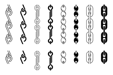Metal Chain Parts Set, Seamless Tiles, Vector Illustration Vector