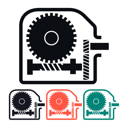 worm gear: Worm Gear Reducer, Multicolored Vector Icon Illustration