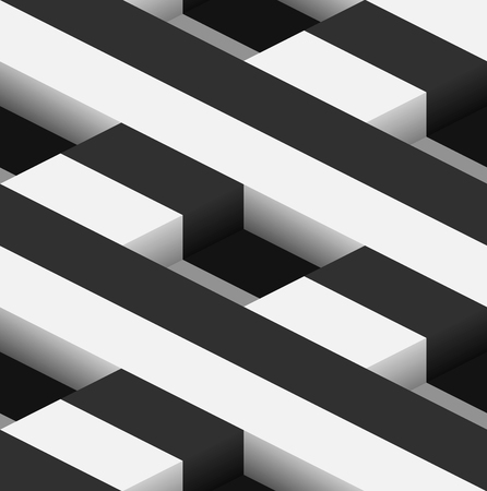 parallelepiped: Striped 3D Square Holes Vector Seamless Pattern Background