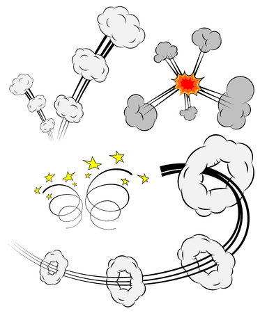 incendiary: Collection of Comic Vector Design Elements: Explosions with Puffs, Smoke Rings with Motion trails