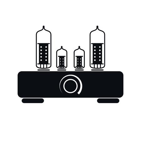 Tube Hi Fi Amplifier Icon, Vector Illustration