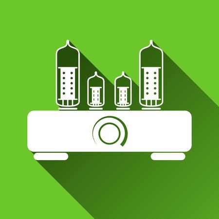 Tube Hi Fi Amplifier Icon, Long Shadows, Vector Illustration