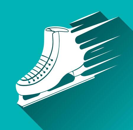 patinaje sobre hielo: Icono del pat�n de hielo, Speed ??Concept, Long Shadow, ilustraci�n vectorial