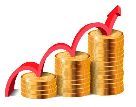 financial success: Goldene M�nzen Stapel mit Pfeil, Finanziellen Erfolg Konzept, Vektor-Illustration. Illustration