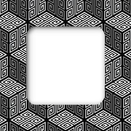 zig zag: 3D Zig Zag Cubes, Op Art Vector Frame Banner