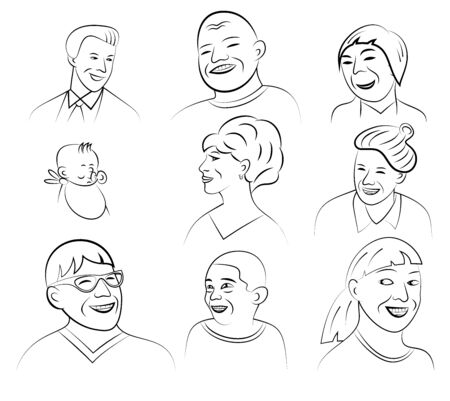 gender identity: Cartoon Style Smiling and Laughing Faces Set, Vector Illustration