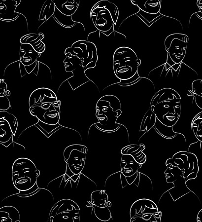 gender identity: Cartoon Style Smiling and Laughing Faces Set, Vector Seamless Pattern Background