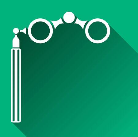 opera: Opera Glasses Icon, Long Shadow, Vector Illustration