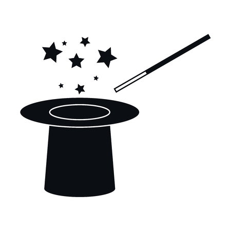 magician hat: Hat and Magic Wand and Stars Icon, Vector Illustration