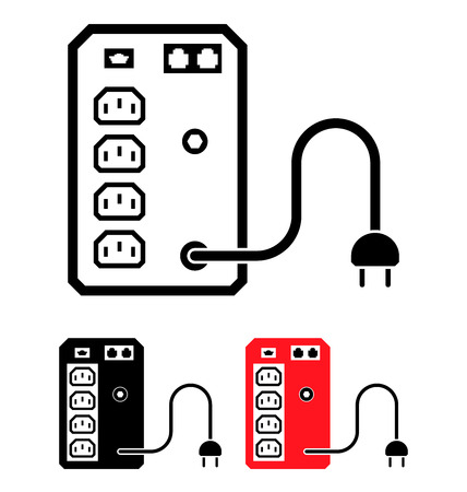 stabiliser: UPS Uninterruptible Power Supply icono, ilustraci�n vectorial