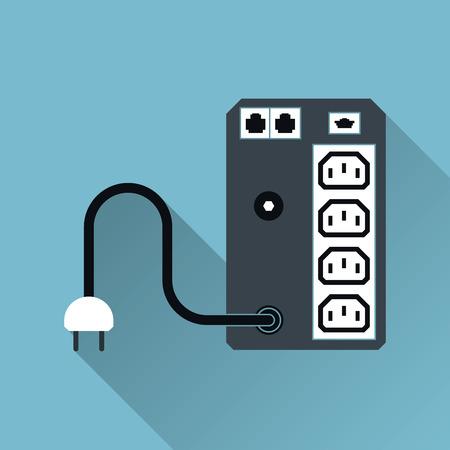 UPS Uninterruptible Power Supply Icon, Long Shadow, Vector Illustration Vettoriali