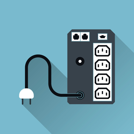 UPS Uninterruptible Power Supply Icoon, Long Shadow, Vector Illustratie