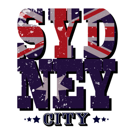 Sydney City T-shirt Typography Graphics, Vector Illustration Ilustracja