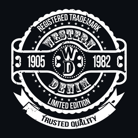 Western Denim T-shirt Typography Graphics, Vector Illustration Vettoriali