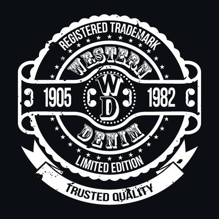 Westelijke Denim T-shirt van de typografie graphics, Vector Illustratie