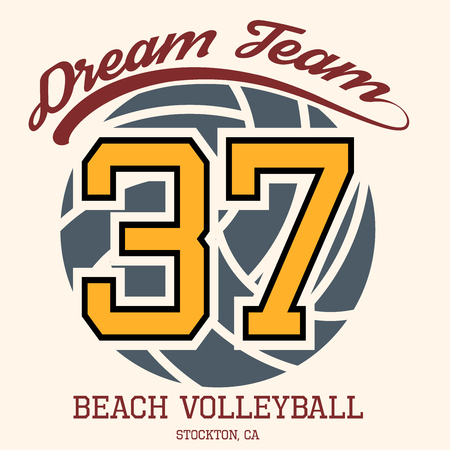 Beach Volleyball Team T-shirt Typography Graphics, Vector Illustration