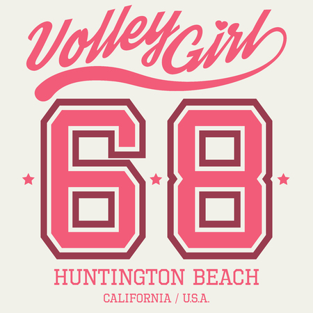 Volley: Volley Girl T-shirt Typography Graphics, Vector Illustration Illustration