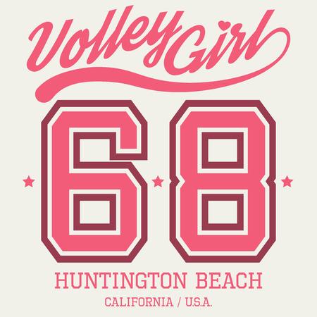 Volley Girl T-shirt Typography Graphics, Vector Illustration Ilustracja