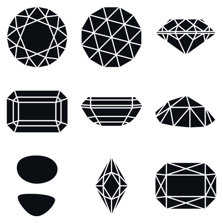 karat: Basic Diamond Gemstone Shapes Icons, Vector Illustration Illustration