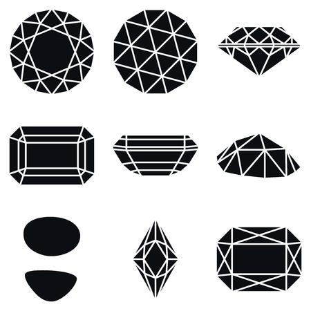 Basic Diamond Gemstone Shapes Icons, Vector Illustration Vettoriali
