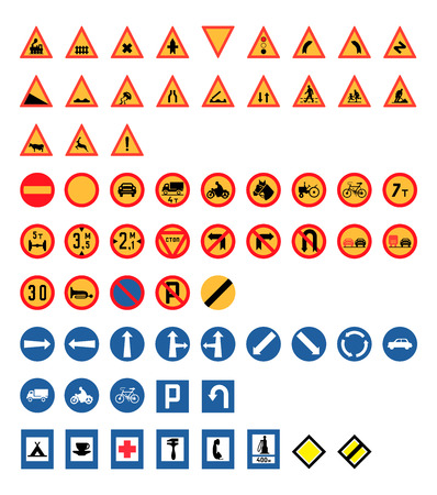 Vintage Road Signs Set from 1950s, Vector Illustration