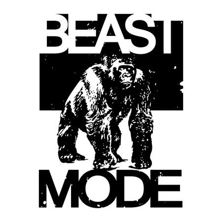 Beast Mode Big Gorilla Monkey Monochrome T-shirt Design, Vector Illustration Ilustracja