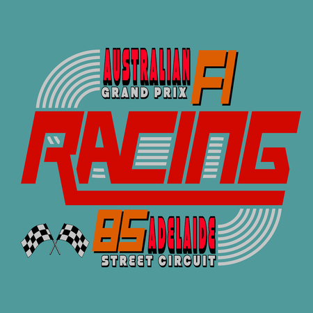 adelaide: Racing Car Typography, Australia Adelaide 1985, T-shirt Graphics Design, Vector Illustration Illustration