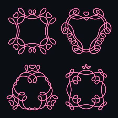 Set of Monochrome Monogram Design Templates Design Elements, Vector Illustration Ilustracja