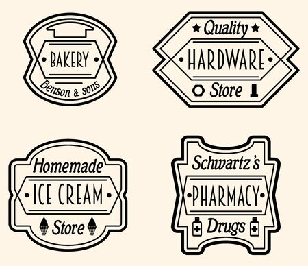 Set of Vintage Badge or icon Design Elements. Labels In Retro Style, Vector Illustration