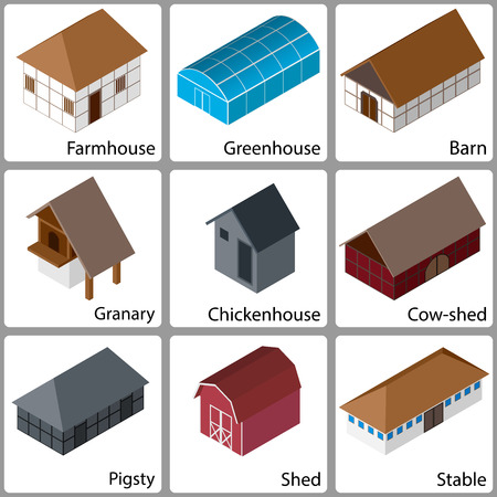 invernadero: 3D isom�trico Granja Iconos de los edificios, la versi�n de color, ilustraci�n vectorial
