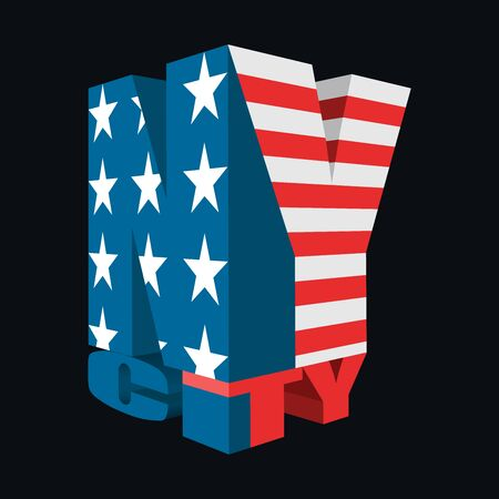 3D New York City Icon, USA Flag Colors, Vector Design, T-Shirt Typography