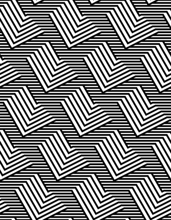 zig zag: Op Art Design, Repeating Zig Zag Striped Vector Seamless Pattern Illustration