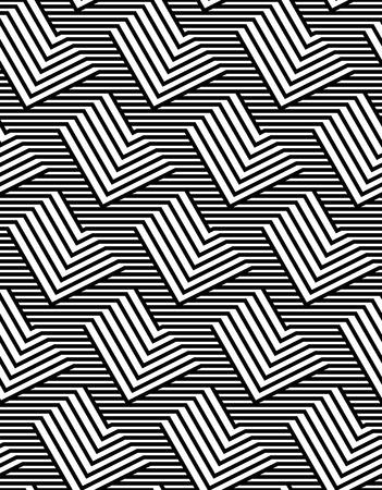 Op Art Design, Repeating Zig Zag Striped Vector Seamless Pattern Ilustracja