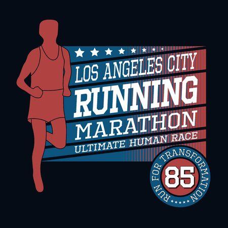 Sport Running Los Angeles Marathon, T-shirt Typography Graphics, Vector Illustration