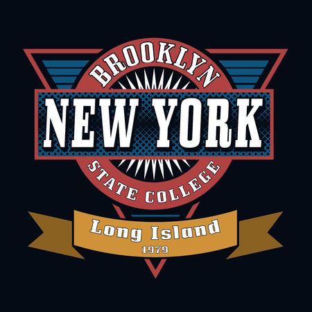 ニューヨーク ブルックリン状態カレッジ t シャツ タイポグラフィ グラフィックス、ベクター グラフィック  イラスト・ベクター素材