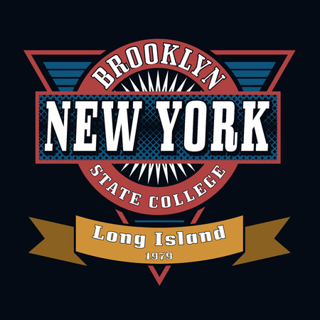 New York Brooklyn State College T-shirt Typography Graphics, Vector Illustration