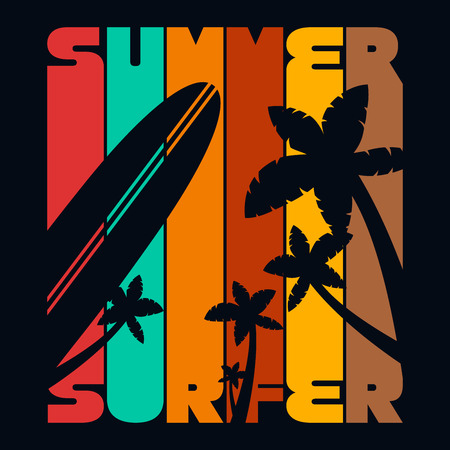 Summer Surfer Vintage T-shirt Typography Graphics, Vector Illustration