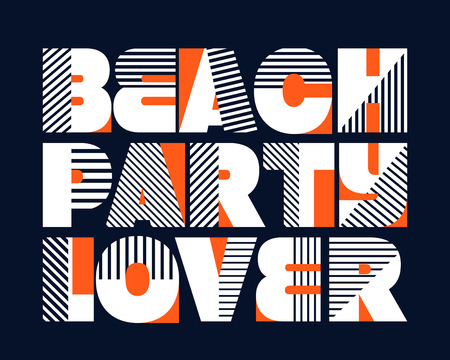 beach party: Beach Party Lover T-shirt Typography Graphics, Vector Illustration