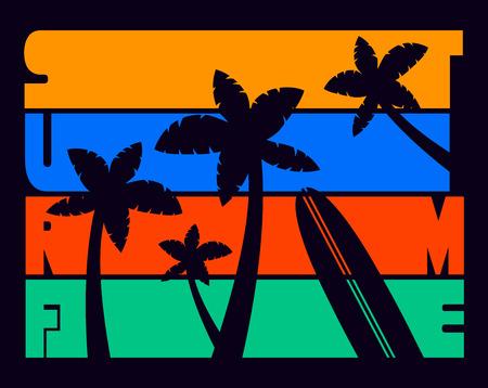 Surf Time Vintage T-shirt Typography Graphics, Vector Illustration
