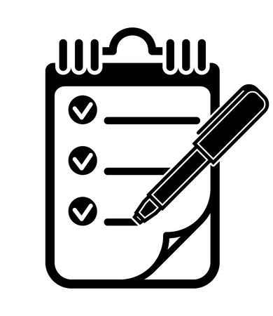 チェック マーク クリップボード ペン アイコン、ベクトル図とリストを行うに