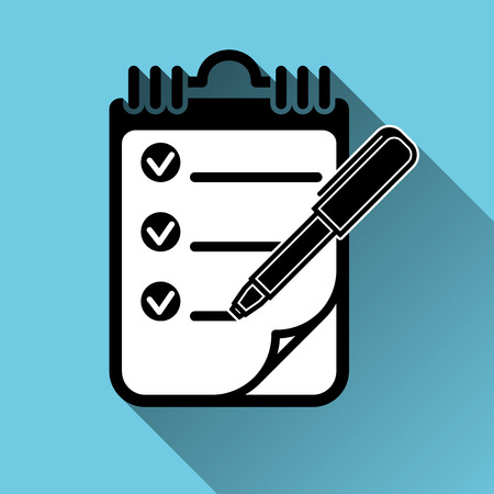 To Do List with Checkmarks Clipboard Pen Icon, Long Shadow, Vector Illustration