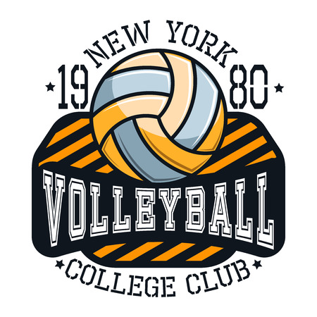 Volleyball College Club New York Team T-shirt Typography Graphics, Vector Illustration
