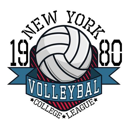 voleibol: Voleibol Colegio Liga Nueva York Equipo T-shirt Gráficos tipografía, ilustración vectorial Vectores