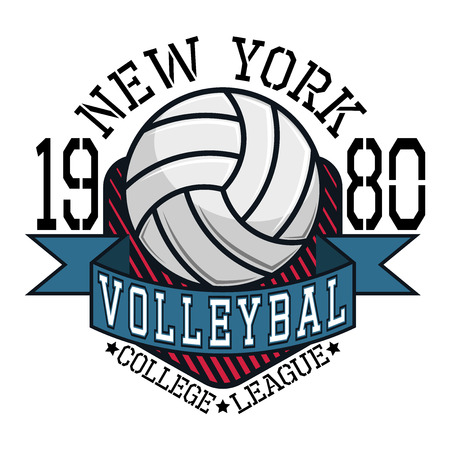 volleyball: Volleyball College League New York Team T-shirt Typography Graphics, Vector Illustration