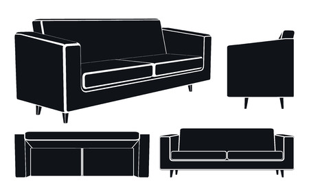 sofa: Vector Illustration of Modern Sofa or Couch, Isometric, Front and Up Views