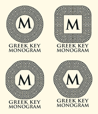 ancient roman: Traditional Greek Key Ornament Monogram Set, Vector Illustration