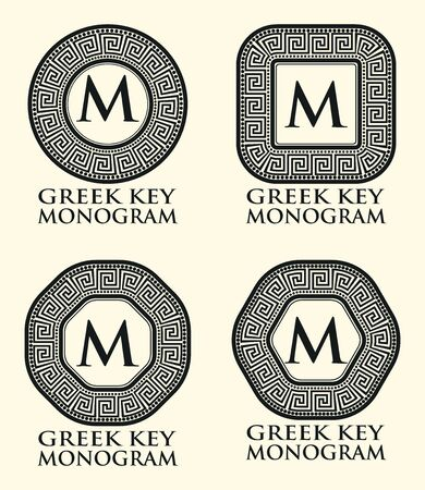 Traditional Greek Key Ornament Monogram Set, Vector Illustration