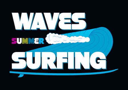 Waves Summer Surfing T-shirt Typography Graphics, Vector Illustration